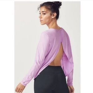 Fabletics lilac long sleeve split back top